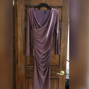 Long Sleeve Plum Evening Dress